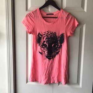 Wildfox neon pink distressed cheetah T-shirt